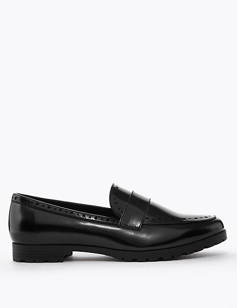 Punch Detail Cleat Sole Loafers