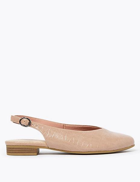 Croc Block Heel Slingback Shoes