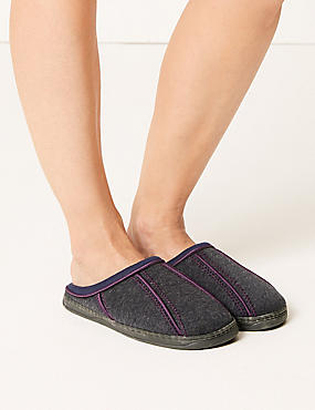 Sporty Mule Slippers, NAVY, catlanding