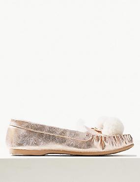 Pom-Pom Moccasin Slippers