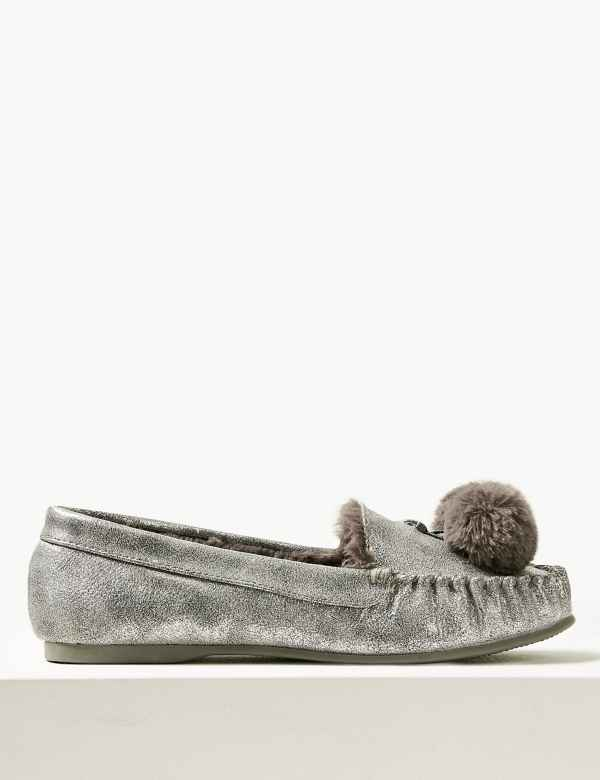 3021104ce5 Pom-Pom Moccasin Slippers