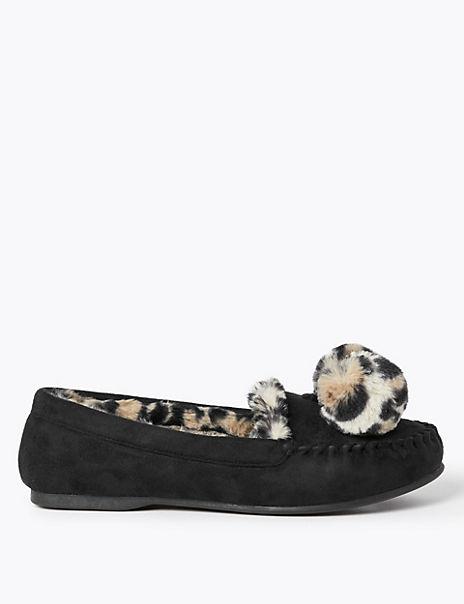 Pom Pom Moccasin Slippers