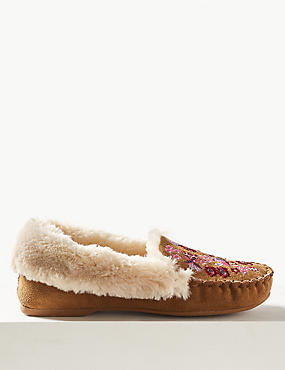 Embroidered Moccasin Slippers
