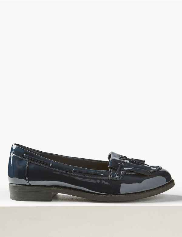 7879d9b9bc046 Wide Fit Patent Tassel Loafers