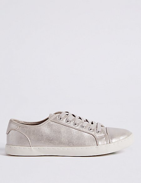 Marks and Spencer Lace-up Trainers grey mix