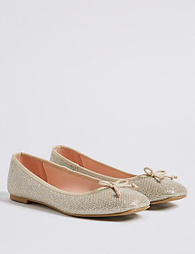 Bow Ballerina Pumps, METALLIC, catlanding