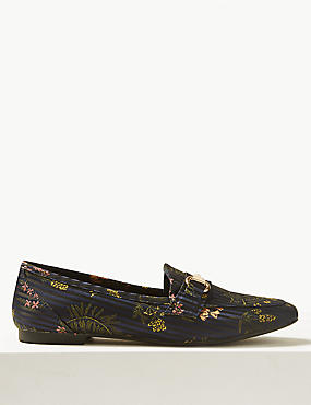 Floral Print Metal Trim Loafers