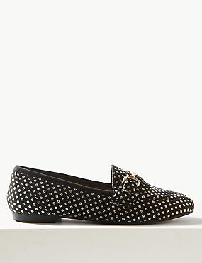 Spotted Metal Trim Loafers, BLACK MIX, catlanding