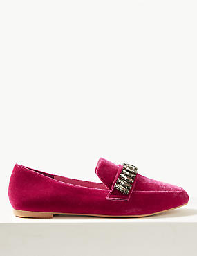Jewel Trim Square Toe Loafers
