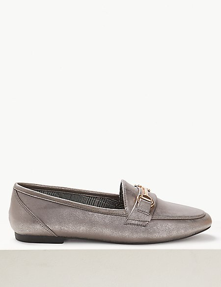 Wide Fit Metal Trim Loafers