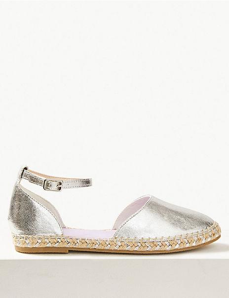 Almond Toe Metallic Espadrilles