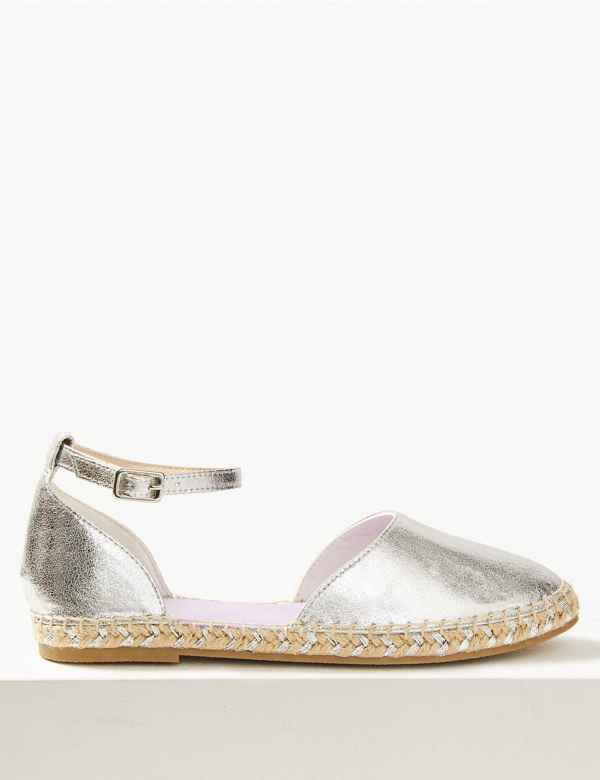 b09816773 Almond Toe Metallic Espadrilles