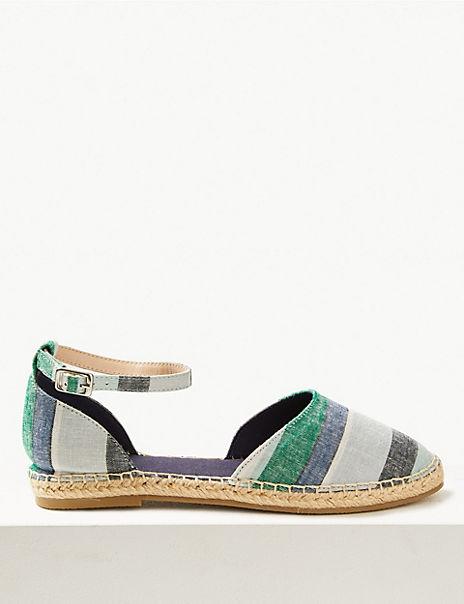 Almond Toe Striped Espadrilles