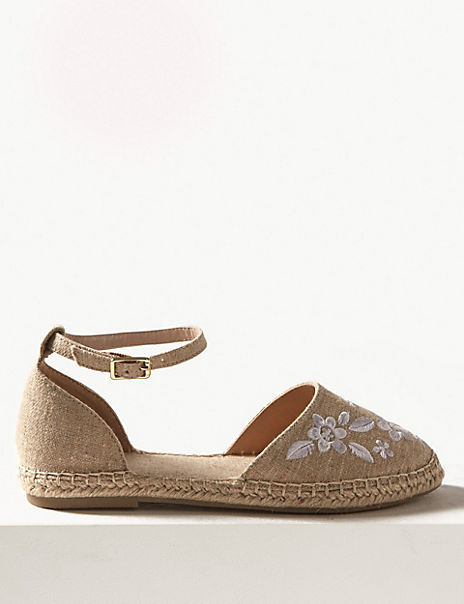 Embroidered Almond Toe Espadrilles