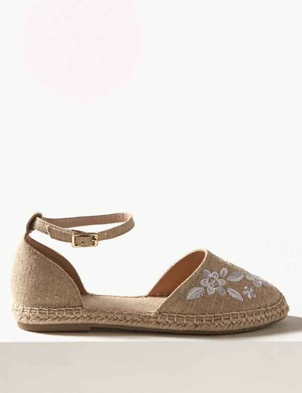 a7083123316f9 Embroidered Almond Toe Espadrilles