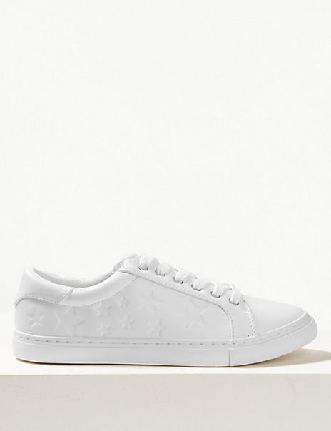 Lace-up Star Embossed Trainers