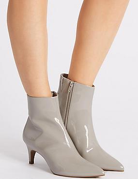 Kitten Heel Side Zip Ankle Boots