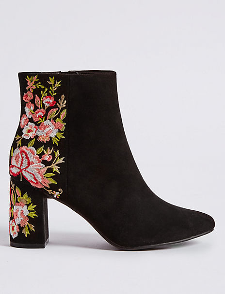 Block Heel Embroidered Ankle Boots
