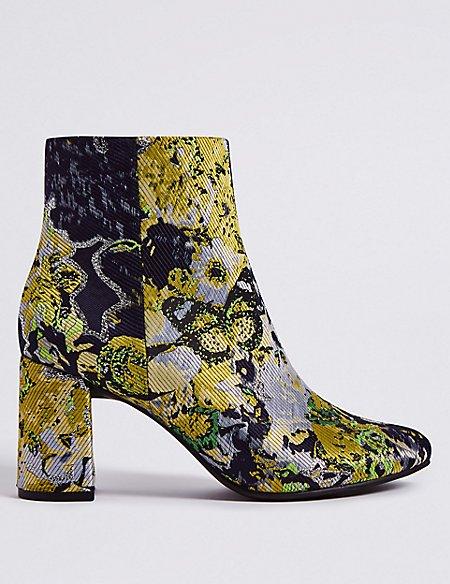 Block Heel Side Zip Brocade Ankle Boots