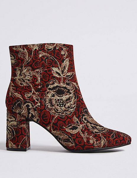 Block Heel Brocade Ankle Boots