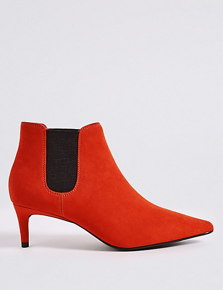 Kitten Heel Pointed Toe Ankle Boots