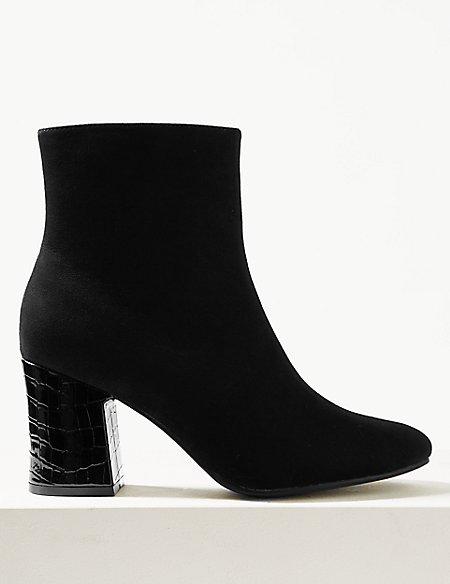 Block Heel Side Zip Ankle Boots
