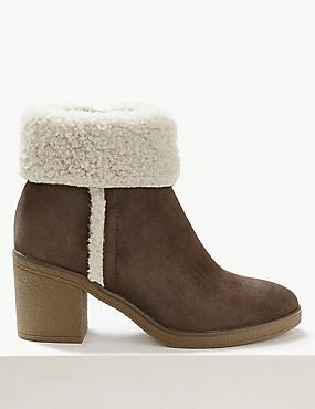 Block Heel Faux Fur Side Zip Ankle Boots