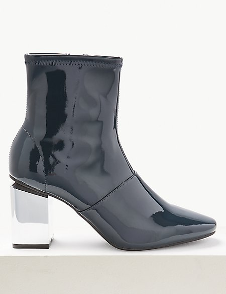 Patent Mirror Heel Ankle Boots