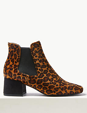 Animal Print Square Toe Chelsea Ankle Boots