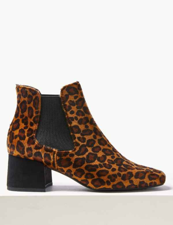 e37e9fde Animal Print Square Toe Chelsea Ankle Boots