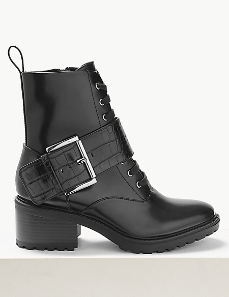 Block Heel Lace Up Biker Boots