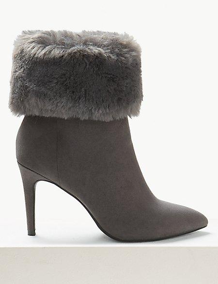 Stiletto Heel Faux Fur Ankle Boots