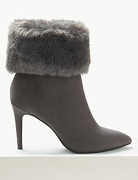 Stiletto Heel Faux Fur Ankle Boots
