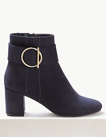 Block Heel Side Zip Ankle Boots