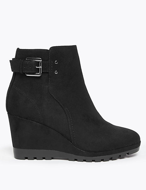 Buckle Strap Wedge Ankle Boots
