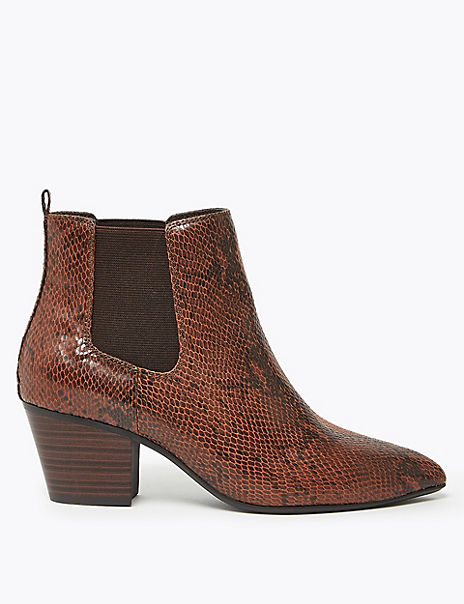 Block Heel Pointed Toe Chelsea Ankle Boots