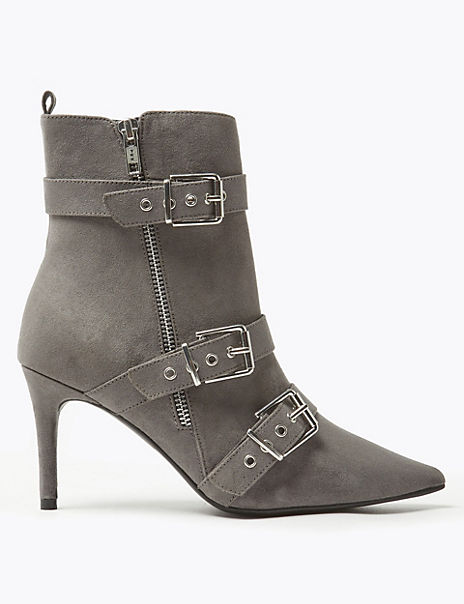 Multi Buckle Stiletto Heel Ankle Boots