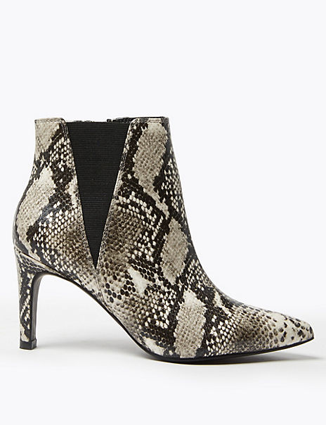 Snake Print Stiletto Heel Chelsea Ankle Boots