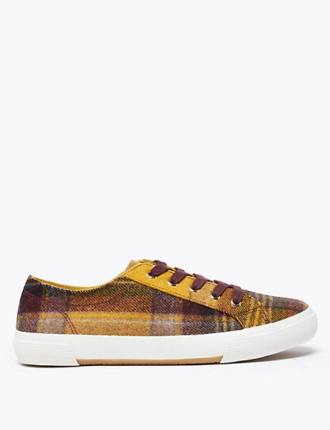 Checked Lace Up Trainers