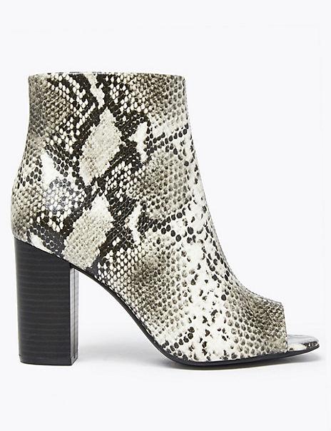 Animal Print Block Heel Peep Toe Ankle Boots