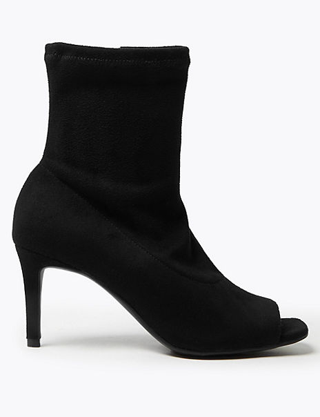 Stiletto Heel Open Toe Sock Ankle Boots