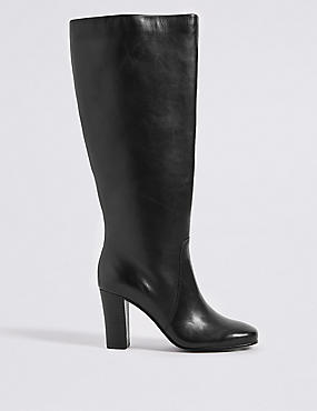 Leather Block Heel Knee High Boots