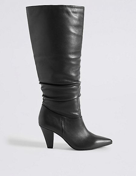 Leather Side Zip Knee Boots