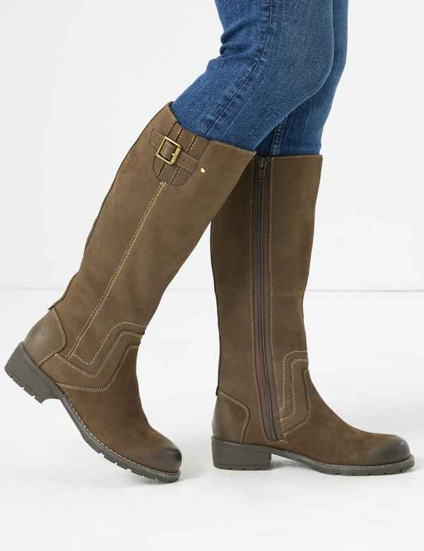 8dd94d611 Wide Fit Leather Stitch Detail Knee Boots. Wide Fit