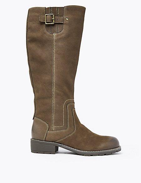 Wide Fit Leather Block Heel Knee Boots