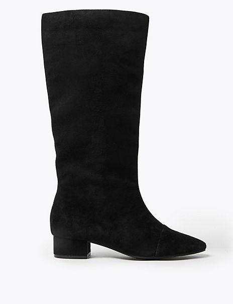Suede Block Heel Almond Toe Knee Boots