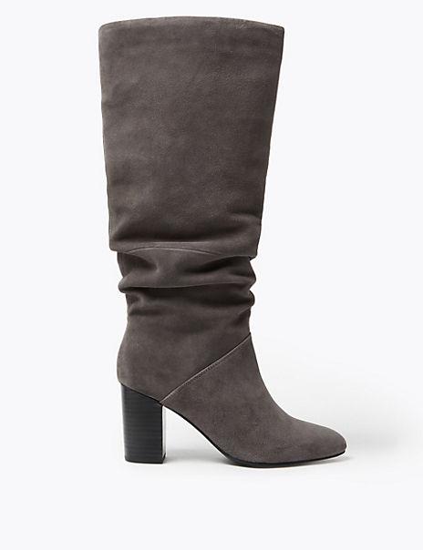 Slouch Block Heel Almond Toe Knee Boots