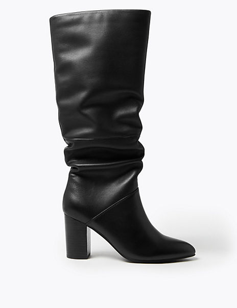 Leather Slouch Block Heel Knee Boots