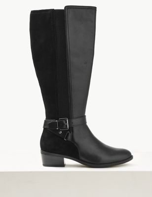 Leather Block Heel Strap Knee Boots by Marks & Spencer