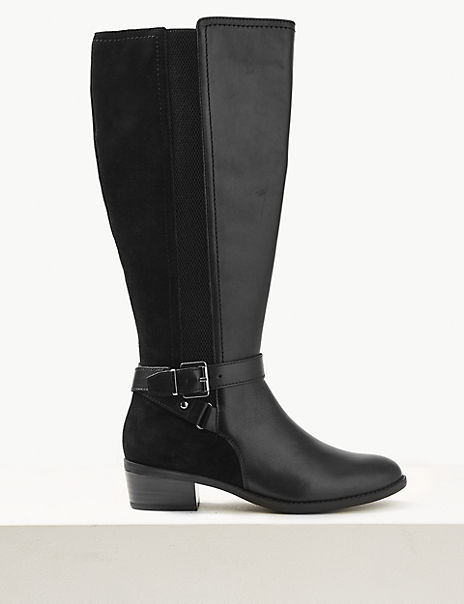 Leather Block Heel Strap Knee Boots